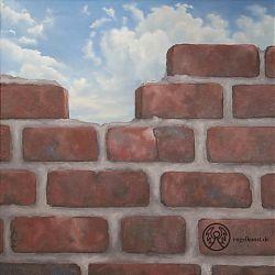 Mauer 2007, Öl/Lw., 50x50cm